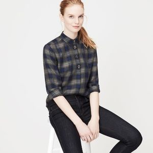 LOFT Jeweled Plaid Shirt Buttondown Embellished